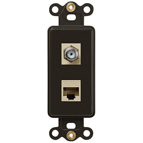 Price comparison product image Single Coax and Single Data Jack Rocker Insert Wallplate, Brown