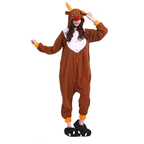 unisex da come cosplay pigiama pile pigiama Kigurumi per PALMFOX Onesie con costume utilizzare cappuccio e in Alce Y5K14y