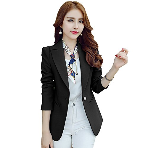 HaoMing Women Work Blazer Casual Office Jacket Lightweight for Juniors Black m (Tweed Fitted Blazer)
