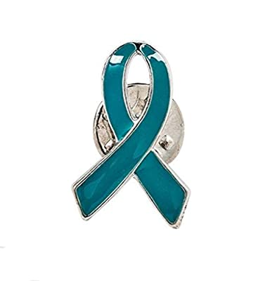 1 Teal Awareness Ribbon Pins Ovarian cancer, cervical cancer, uterine cancer, Anxiety disorders