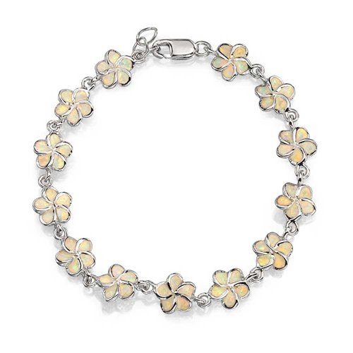 (Plumeria Hawaiian Flower White Created Opal Link Bracelet For Women Girlfriend 925 Silver October Birthstone)
