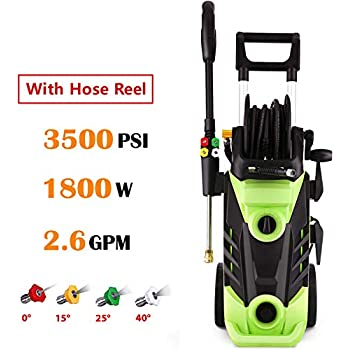 1800W Power Washer Homdox 3500 PSI Electric Pressure Washer Professional Washer Cleaner Machine with 4 Interchangeable Nozzles,Hose with Reel,Green 2.6GPM High Pressure Washer