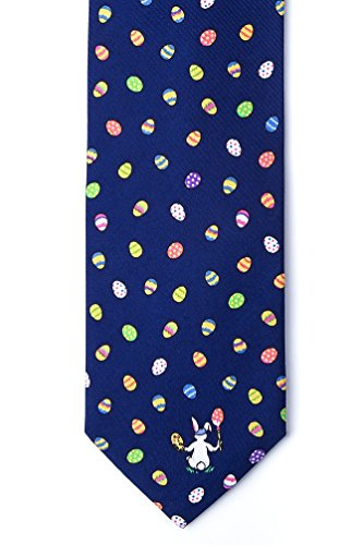 Men's 100% Silk Navy Blue Easter Bunny & Easter Eggs Necktie Tie Neckwear (Eggs Easter Tie)