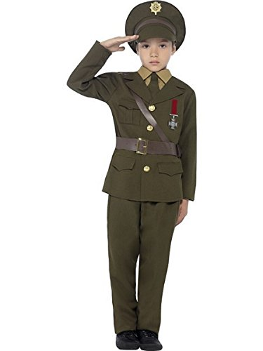 Smiffys Children's Army Officer Costume, Jacket, Belt, Trousers, Hat, Mock Shirt & Tie,  Ages 7-9, Size: Medium, Color: Green, -