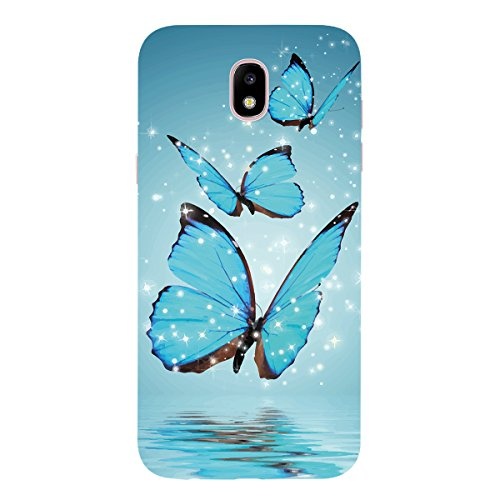 WE LOVE CASE Funda Samsung J7 2017, Ultra Fina Slim Suave Funda Samsung J7 2017 Purpurina Silicona Cubierta Clear Cover, Original Flexible Gel Dibujos Choque Protectora Resistente Funda Samsung Galaxy Mariposa Azul