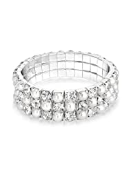 Bling Jewelry Crystal Simulated Pearl Stretch Bracelet 7in Silver Plated