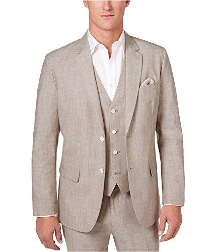 Tasso Elba Taupe Mens Large Two Button Cotton Blazer Gray L