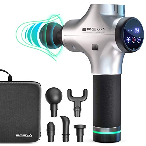 Amazing Muscle Massager Breva Professional Percussion Massager – Portable Handheld Electric Massage Gun w/5 Head Attachments , Rechargeable Battery – Deep Tissue Personal Massager For Neck , Back – Relieve Soreness , Pain 2019