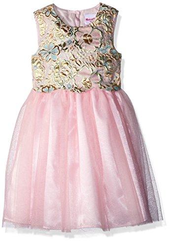 Nannette Little Girls' Brocade Mesh Dress, Pink, 5 (Pin Little Pink Dress)