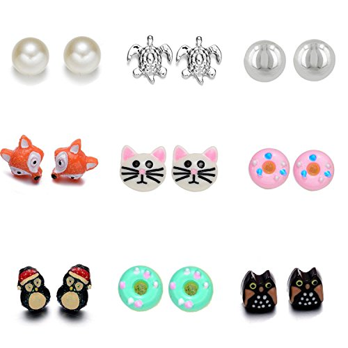 Fsimlimg Multi Pairs Stainless Steel Resin Cute Earring Studs for Girls Children Hypoallergenic