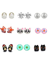 Women's Girl's Assorted Multiple Stud Earring 12 Style Sets
