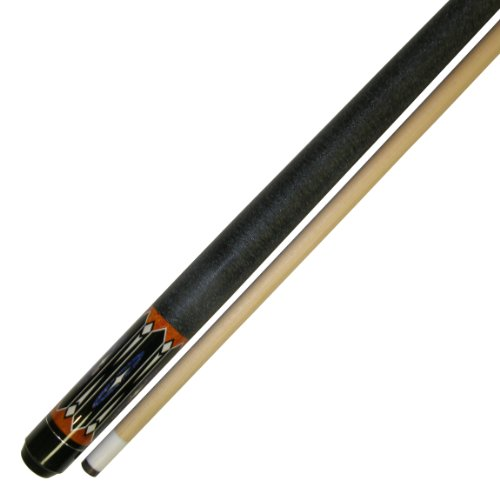 Leather Wrap Pool Cue Stick - Iszy Billiards 58-Inch Hardwood Canadian Maple Pool Cue Billiard Stick with Irish Wrap (2-Piece), Black, 20-Ounce