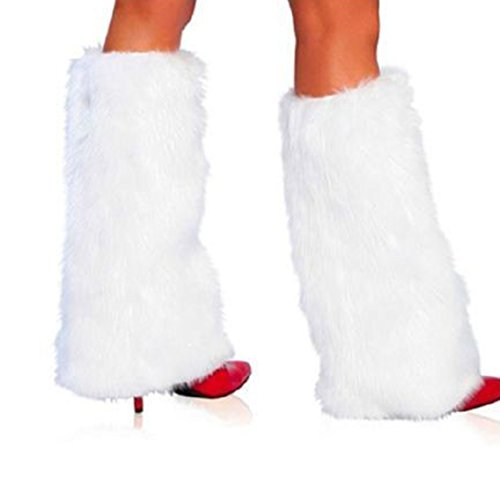 Unigds 3Color Sexy Faux Fur Leg Warmers Rave Fluffies Lady Boot Cover Santa Christmas (White) -