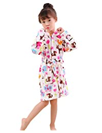 LOLANTA Kids Robe Boys Girls Hooded Sleep Robe Soft Flannel Bathrobe Dressing Gown Gift