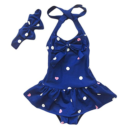 Jastore® Baby Girls Swimwear One Piece Swimsuits Beach Wear with Headband (12-24 Months, Blue)