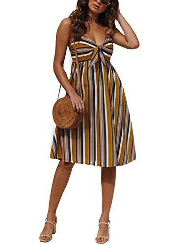 Lovelychica Womens Dresses Summer Tie Front V-Neck Spaghetti Strap A-Line Backless Swing Midi Dress Yellow