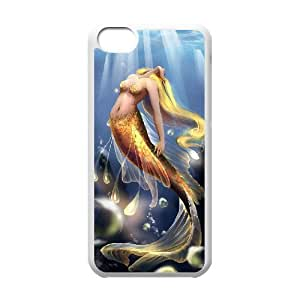 diy case Mermaid Shell Phone for iPhone 4 4s White Cover Phone Case [Pattern-5]