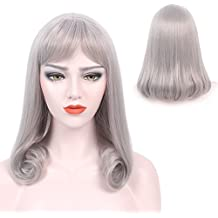 """Silver Gray Wig Bangs Mid Length Long Straight Lolita Women Cosplay Party Tail Curls Hairpiece 19"""""""