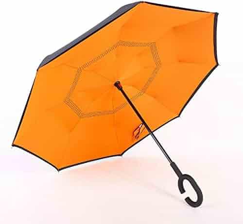 27f36545a Double Layer Umbrella Reversed Inverted Windproof Rain Car Reverse Umbrellas  For Women And Men Sun Parasol
