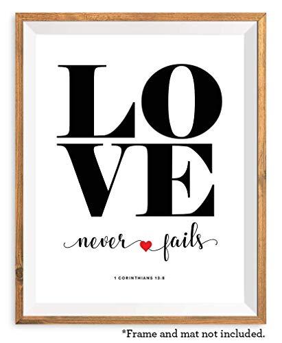 Love Never Fails, 11x14 Unframed Art Print, 1 Corinthians Bible Verse Wall Art, Christian Home Decor Gift, Bridal Shower Gift for Bride ()