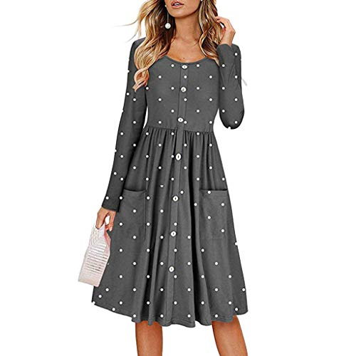 iDWZA Women Dot O Neck Button Dress Long Sleeve Pocket Casual Beach Long Maxi Dress(Gray,M)