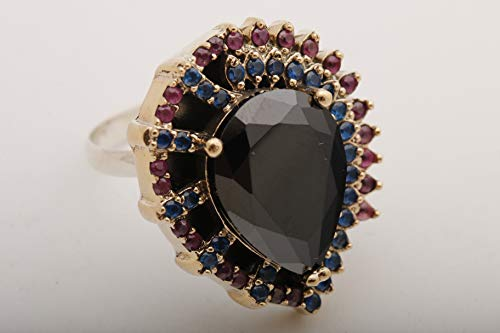Ottoman Special Design Turkish Handmade Jewelry Drop Shape Pear Cut Black Onyx and Round Cut Sapphire Pink Ruby 925 Sterling Silver Ring Size Option