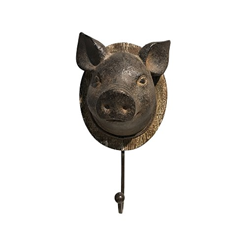 Comfy Hour 10'' Pig Head Singl Key Hook Wall Hanger, Rusty Looking, Brown Vintage, Antique Style by Comfy Hour