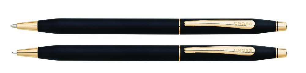 Cross Classic Century Classic Black Ballpoint Pen & 0.7mm Pencil with 23KT Gold Plated Appointments (250105)