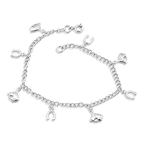 WithLoveSilver Sterling Silver 925 Charm Horse Head and Horse Shoes Link Bracelets 7.5 Inches (Horse Head Silver Bracelet Sterling)