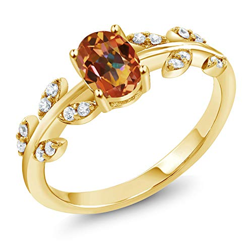 Gem Stone King 18K Yellow Gold Plated Silver 1.21 Ct Oval Ecstasy Mystic Topaz Leaf Ring (Size 7) ()