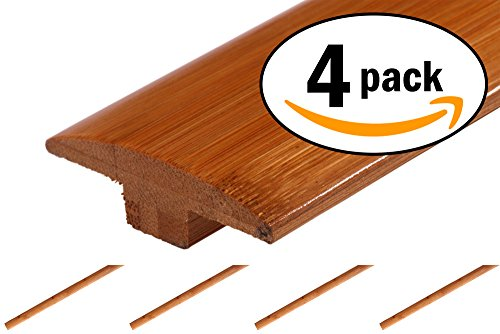(AMERIQUE 24' Linear Prefinished Solid Horizontal Carbonized Bamboo T-Moldings, 72