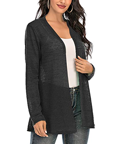 CIZITZZ Womens Casual Long Sleeve Open Front Cardigan Sweater Drape Lightweight Duster High Low Hem,Black,M