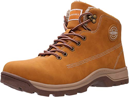 Shoes Snow Boots Outdoor Trekking for Weather Warm Work Thermo Insulated Fully Fur Lined Nubuck Leather Hiking Waterproof Ankle Toe Anti-Slip Comfy Tan Brown Size 10 ()