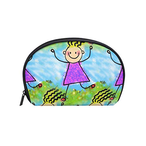 Senya Travel Cosmetic Bag Small Makeup Portable Carry Case Pouch Girls Women Personalized Organizer Tote Bag For Jewelry Toiletries Little Guys ()