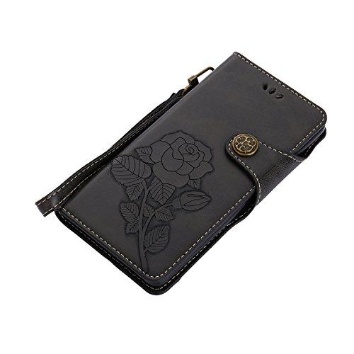 MEIRISHUN Leather Wallet Case Cover Carcasa Funda con Ranura de Tarjeta Cierre Magnético y función de soporte para Huawei P9 - Rosado Negro
