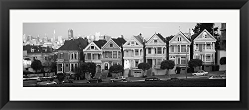 White Architectural Black Photos (Black and white view of The Seven Sisters, Painted Ladies, Alamo Square, San Francisco, California by Panoramic Images Framed Art Print Wall Picture, Black Frame with Hanging Cleat, 33 x 15 inches)