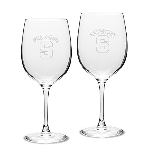 (NCAA Syracuse Orange Adult Set of 2 - 19 oz Robusto Red Wine Glasses Deep Etch Engraved, One Size, Clear)