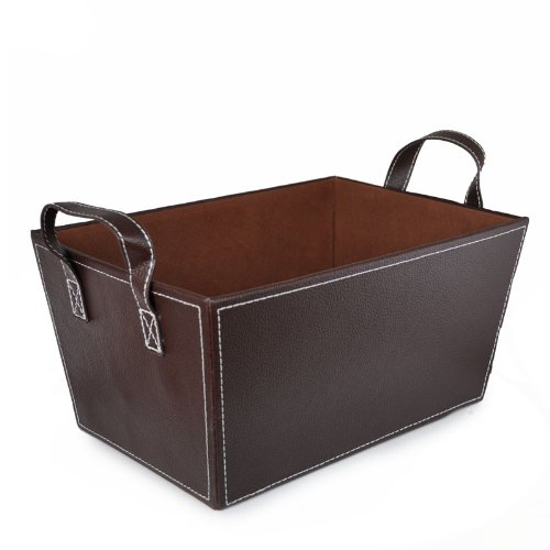 The Lucky Clover Trading Roosevelt Faux Leather Basket Magazine Holder, Brown