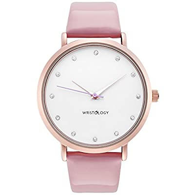 WRISTOLOGY Olivia Womens Crystal Rose Gold Boyfriend Watch Pink Patent Leather Strap