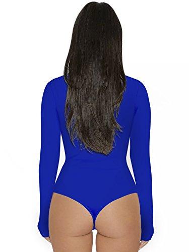 Royal Casual Justaucorps Manches Bleu Bodysuit Col Unie Leotard Longues Jumpsuits Rompers de Femme Onlyoustyle Haut Combishorts Haut Couleur Fashion Top Moulant 1q0xRttIn