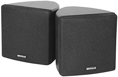 Dice by Rockville Dice Black Pair of three.5″ Black Dwelling Theater Wall Audio system+Swivel Brackets