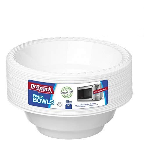 Propack 18 Ounce Disposable Bowls Microwave Safe 50 Count White Pack of 2 (100 Bowls Total) (18 Microwave)