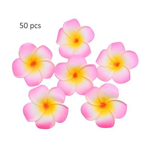 LW 50 pcs Artificial Plumeria Foam Egg Flower Frangipani Heads, Headband Wreath Hawaii Beach Party Wedding Decorations (Pink)
