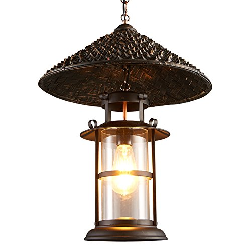(OOFAY Southeast Asian Style Bamboo Pendant Light, Glass Lampshade Retro Ceiling Fixture Mini Chandelier)
