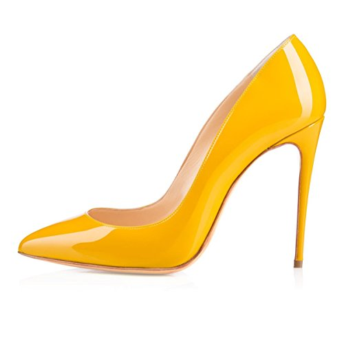Haut Talon Escarpins Stileoo Edefs Heel High Fermé Sexy Aiguille Jaune Bout Chaussures Femme taBqntxwdI