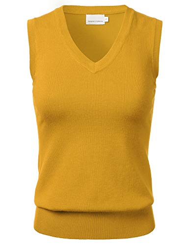 Sweater Vest Top - Women's Solid Classic V-Neck Sleeveless Pullover Sweater Vest Top Mustard L