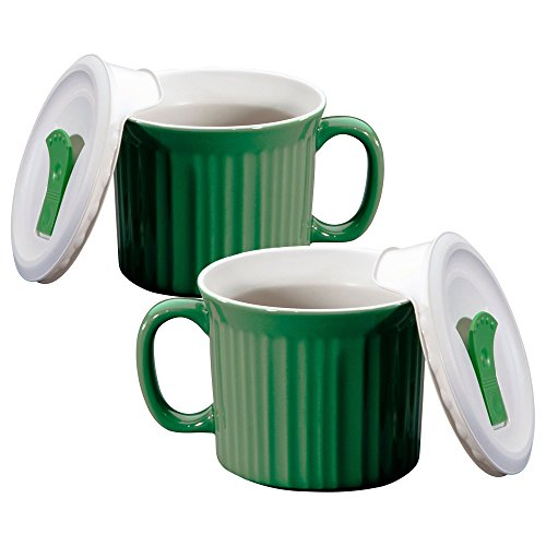 Corningware 20-Ounce Oven Safe Meal Mug with Vented Lid, Green Tea, Pack of 2 by CorningWare