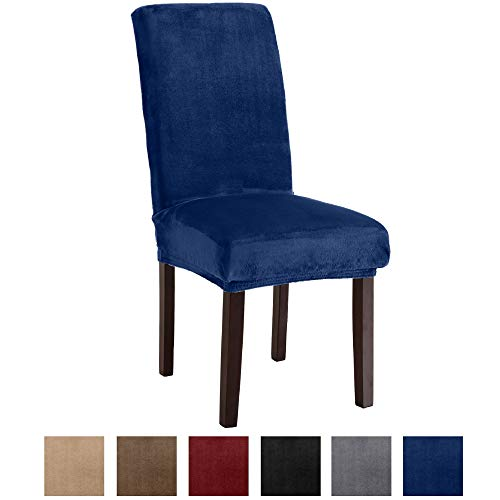 Great Bay Home Velvet Plush Dining Chair Slipcovers. Washable Chair Covers. Summerhill Collection (Set of 2, Dark Denim Blue)