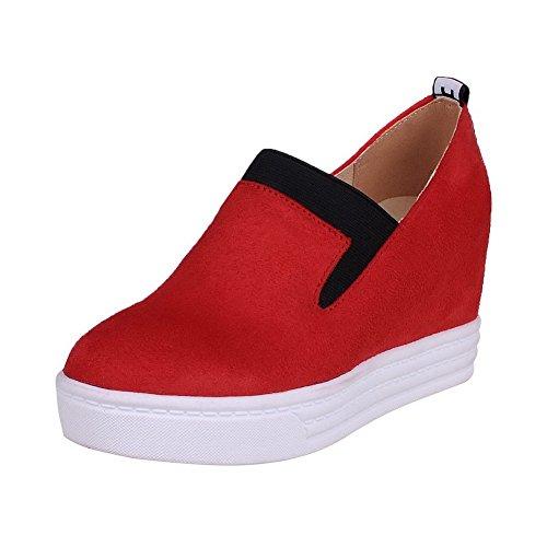 AllhqFashion Damen Hoher Absatz Ziehen auf Mattglasbirne Rund Zehe Pumps Schuhe Rot