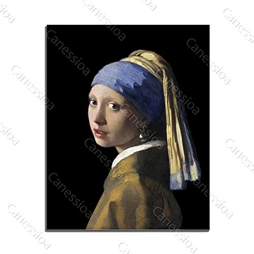 - Canessioa Wall Art Canvas Painting A Woman in Blue Turban Beautiful Classical Pictures Artwork Home Wall Decorations for Bedroom Living Room Kitchen Office Corridor Staircase(24x32inch Unframed)